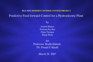 ELG 4152 MODERN CONTROL SYSTEM PROJECT