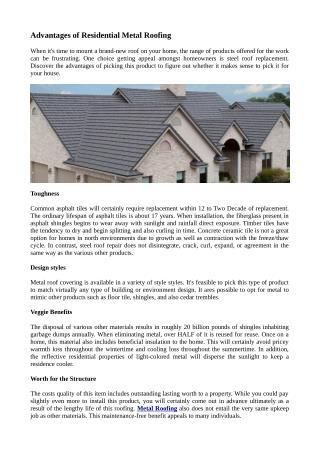 Advantages of Residential Metal Roofing