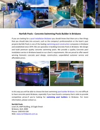 Norfolk Pools - Concrete Swimming Pools Builder in Brisbane
