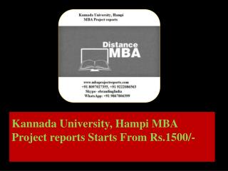 Kannada University, Hampi MBA Project reports Starts From Rs.1500/-