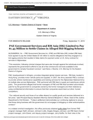 Blog 116  PAE Government Services and RM Asia (HK) Limited to Pay   $1.45 Million To Settle Claims In Alleged Bid Riggin