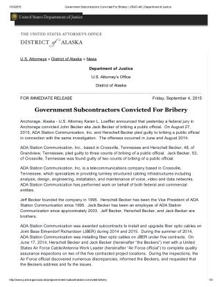 Blog 117 Government Subcontractors Convicted For Bribery _ USAO-  AK _ Department of Justice