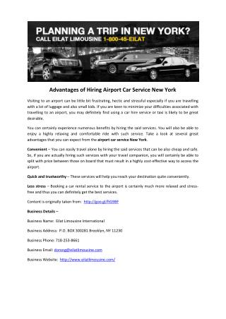 Advantages of Hiring Airport Car Service New York