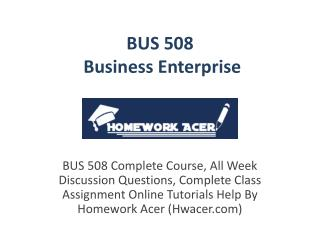 BUS 508 Business Enterprise Assignment