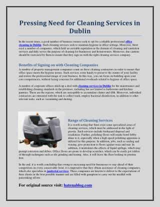 Pressing Need for Cleaning Services in Dublin
