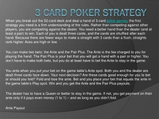 3 Card Poker Strategy