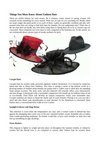 Things You Must Know About Fashion Hats