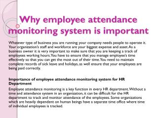 Why employee attendance monitoring system is important