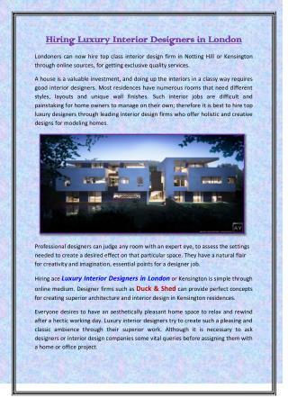 Hiring Luxury Interior Designers in London