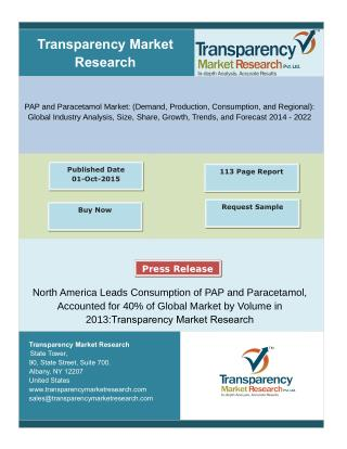 Global PAP and Paracetamol Market-Segments and Forecasts up to 2022 Research Reports:Transparency Market Research