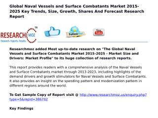 Global Naval Vessels and Surface Combatants Market 2015-2025 Key Trends, Size, Growth, Shares And Forecast Research Repo