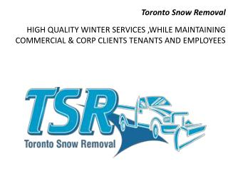 Toronto Snow Removal - HIGH QUALITY WINTER SERVICES ,WHILE MAINTAINING COMMERCIAL & CORP CLIENTS TENANTS AND EMPLOYEES