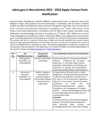 Ndma.gov.in Recruitment 2015 - 2016 Apply Various Posts Notification