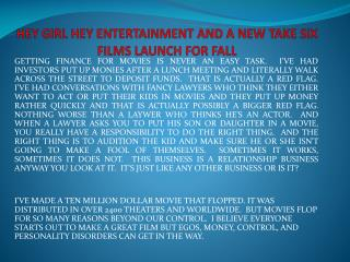HEY GIRL HEY ENTERTAINMENT AND A NEW TAKE SIX FILMS LAUNCH FOR FALL