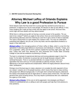 Attorney Michael LeRoy of Orlando Explains Why Law is a good Profession to Pursue