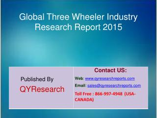 Global Three Wheeler Market 2015 Industry Study, Trends, Development, Growth, Overview and Insights