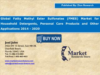 Global Fatty Methyl Ester Sulfonates Market to reach USD 1.58 billion by 2020