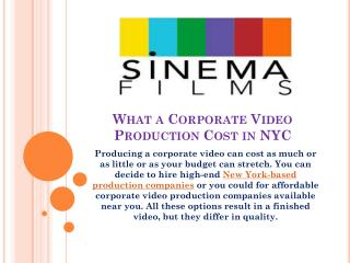 What a Corporate Video Production Cost in NYC