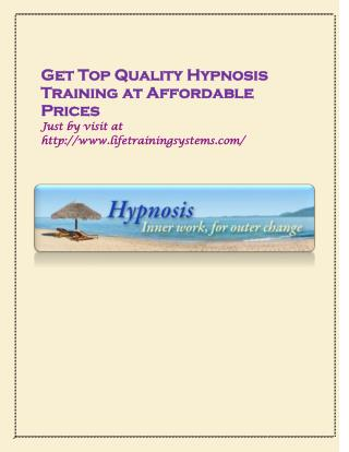 Get Top Quality Hypnosis Training at Affordable Prices