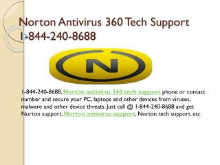 Norton Antivirus 360 Tech Support Number 1-8442408688