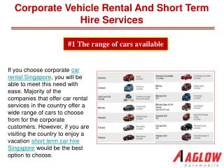 Corporate vehicle rental and short term hire services