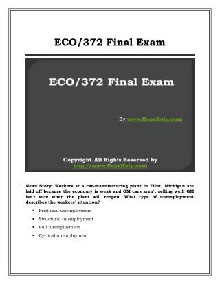 ECO 372 Final Exam (Latest) UOP Complete Course Tutorials