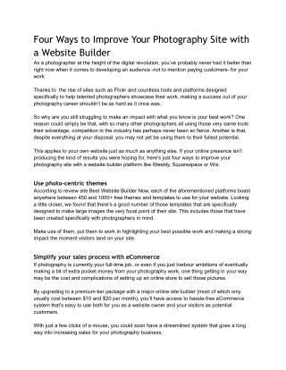 Four Ways to Improve Your Photography Site with a Website Builder