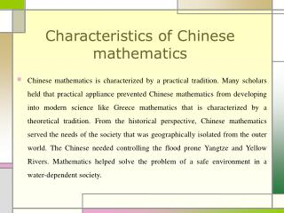 Characteristics of Chinese mathematics