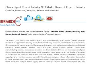 Chinese Speed Cement Industry 2013 Market Research Report