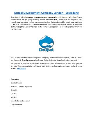 Drupal Development Company London - Sowedane