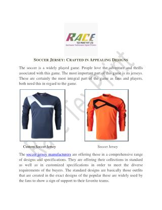 Soccer Jersey Crafted in Appealing Designs