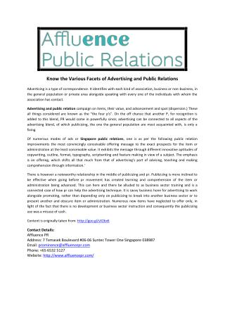Know the Various Facets of Advertising and Public Relations