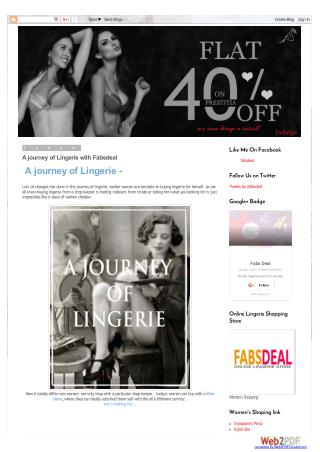 """Fabsdeal"" provides an amazing online shopping platform to Buy Lingerie, Bra"