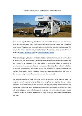 Travel in a Campervan or Motorhome in New Zealand