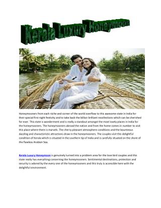 Kerala Luxury Honeymoon packages