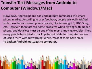 Transfer Text Messages from Android to Computer (Windows and Mac)