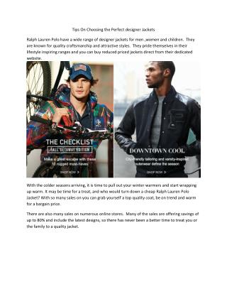Tips On Choosing the Perfect designer Jackets