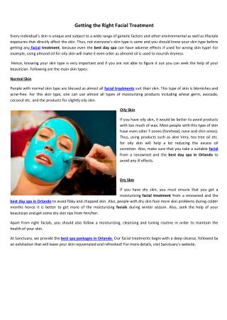 Getting the Right Facial Treatment