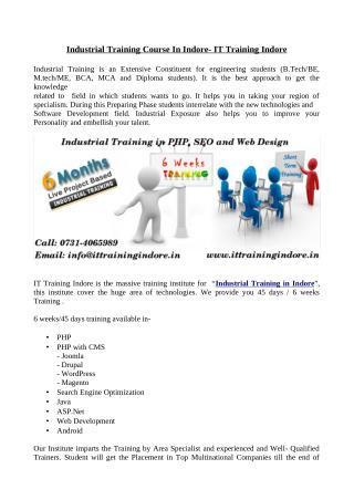 IT Training Indore- Industrial training course in Indore