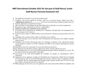 NIRT Recruitment October 2015 for the Post of Staff Nurse, Junior Staff Nurse, Personal Assistant, LDC