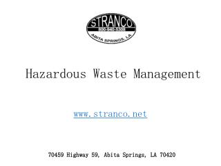 Hazardous Waste Management - Definition and Types - Effects and Methods