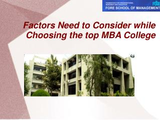Factors Need to Consider while Choosing the top MBA College