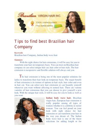 Tips to find best Brazilian hair Company