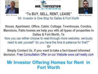 Mr Investor Offering Homes for Rent  in Fort Worth