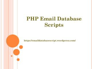 PHP Email Database Scripts