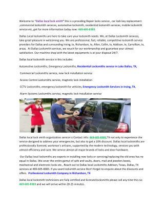 Mobile Locksmith Service-Richardson,TX, Allen,Collin,TX  Repair install Office Door Locks-Flower Mound,Denton,TX