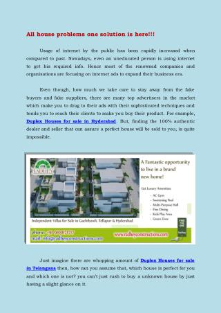 Duplex Houses for sale in Hyderabad
