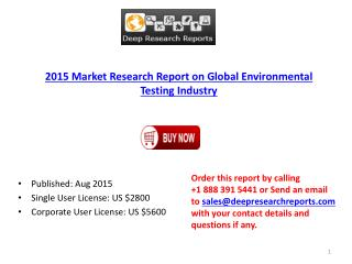 Environmental Testing Industry Worldwide Strategy and 2020 Forecasts