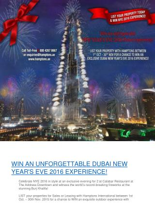 WIN AN UNFORGETTABLE DUBAI NEW YEAR'S EVE 2016 EXPERIENCE!
