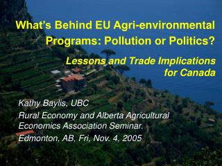 What's Behind EU Agri-environmental Programs: Pollution or Politics?